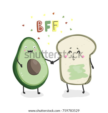 Avocado and toast. Best friends forever. Hand drawn vector illustration