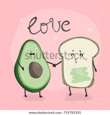 Avocado and toast. Hand drawn vector illustration