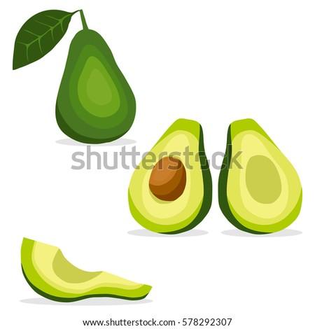 Avocado, avocado icon, tropical fruit, green fruit, vitamins. Flat design, vector illustration, vector.