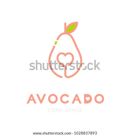 Avocado fruit with heart logo icon outline stroke set design illustration isolated on white background with Avocado text and copy space, vector eps10