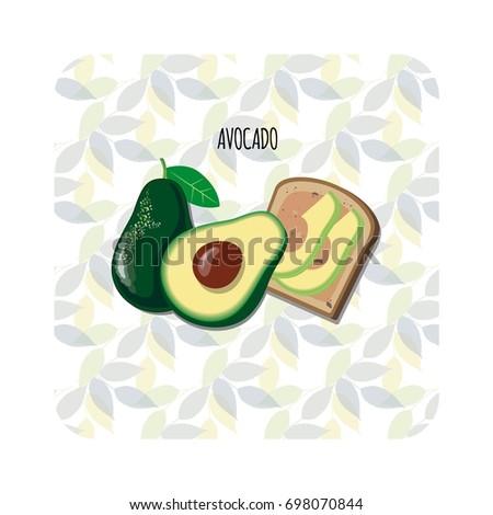 Avocado toast. Fresh toasted bread with slices of ripe avocado. Delicious avocado sandwich. Vector illustration.