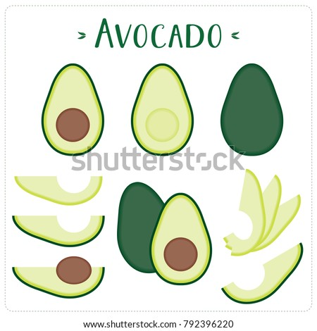 Avocado vector illustration set. Whole, sliced and halved avocado graphics.