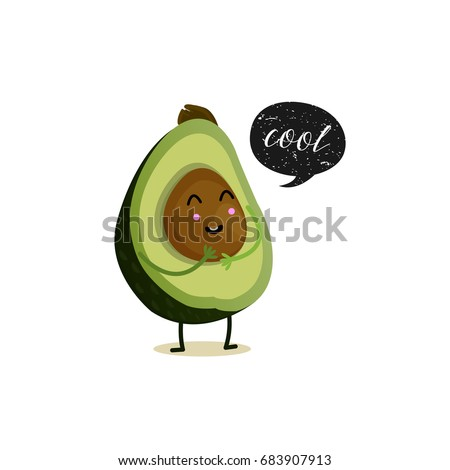 Avocado with speech bubble. Black grunge badge. Balloon sticker. Cool. Vector illustration. White background. Avocado character.