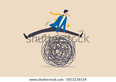 Avoid business trouble risk, smart thinking to overcome difficulty obstacle or emotional problem, solving problem concept, smart superpower businessman jump pass trouble metaphor of business crisis.