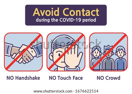 Avoid Contact during the COVID-19 period. Colored vector illustrations set.