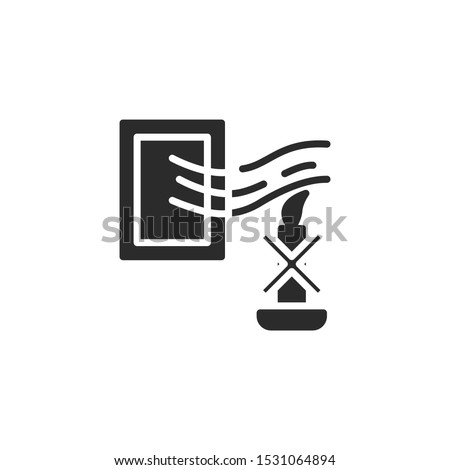 Avoid drafts, vents or air currents. Window and calndle filled icon. Labeled for fire safety. Labeling for wax candles. Sings for desing, for a website, for label printing.