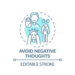 Avoid negative thought turquoise concept icon. Positive attitude. Psychological approach. Self development idea thin line illustration. Vector isolated outline RGB color drawing. Editable stroke