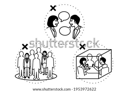 Avoid the Three Cs. Crowded place, Close-contact setting, Confined and enclosed space. Vector illustration. Stock fotó ©