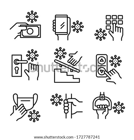 Avoid touching coronavirus, money, mobile, button, doorknob, stair handrail, lift, medical mask and bus handle icons set. Line vector. Isolate on white background.
