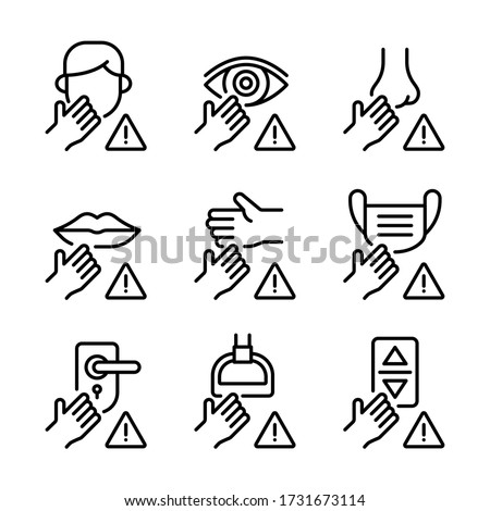 Avoid touching surfaces with face, eyes, nose, mouth, hand, mask, door knob, bus handle and lift panel button  icons set. COVID-19 prevention. Line vector. Isolate on white background.