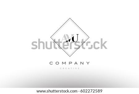avu a v u retro vintage simple rhombus three 3 letter combination black white alphabet company logo line design vector icon template  Stok fotoğraf ©
