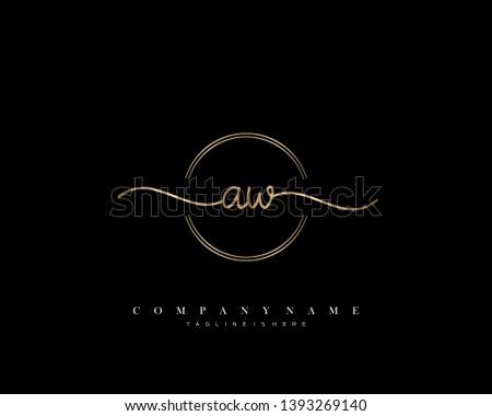 AW initial handwriting logo template vector