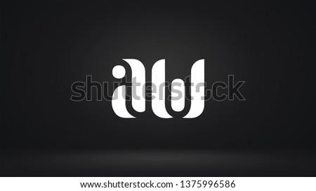 AW logo design template vector illustration icon