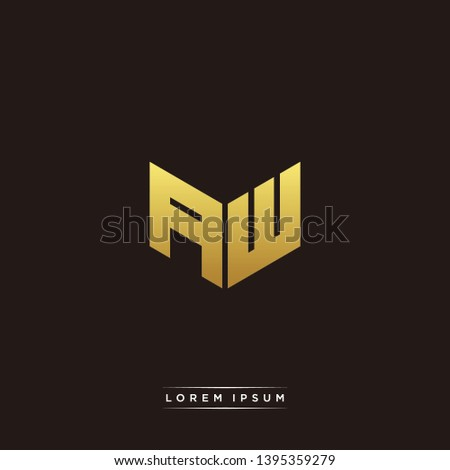 AW Logo Letter Initial Logo Designs Templete with Gold and Black Background