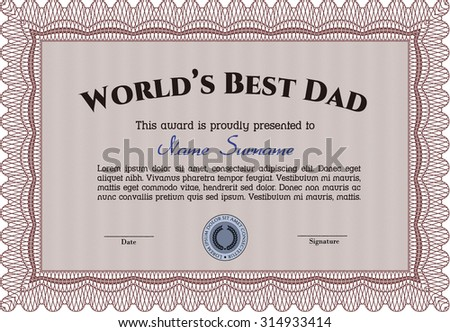 Award: Best dad in the world. With guilloche pattern. Excellent complex design. Customization, Easy to edit and change colors.
