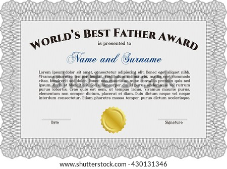 Award: Best dad in the world. With guilloche pattern. Retro design.