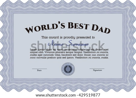 Award: Best Father in the world. With great quality guilloche pattern. Sophisticated design.