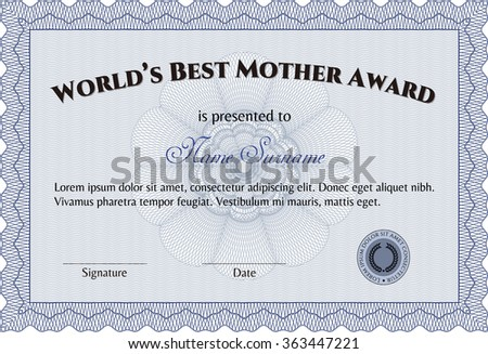 Award: Best Mom in the world. Border, frame.Good design. With great quality guilloche pattern.