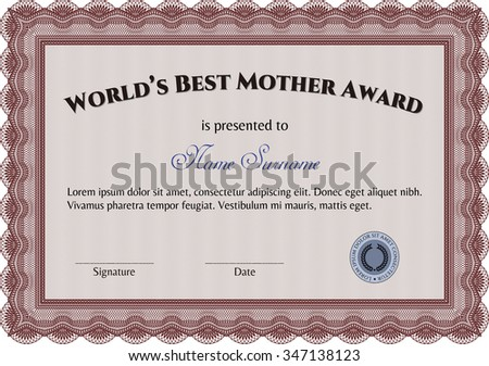 Award: Best Mom in the world. Elegant design. With complex background. Vector illustration.