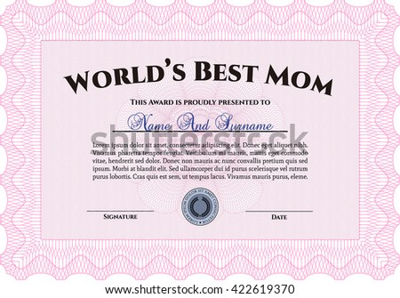 Award: Best Mom in the world. Retro design. With guilloche pattern.