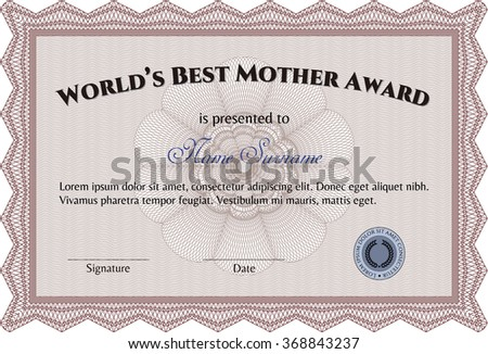 Award: Best Mom in the world. With background. Artistry design. Vector illustration.