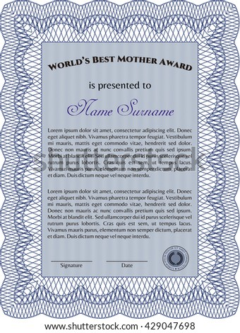 Award: Best Mom in the world. With great quality guilloche pattern. Retro design.