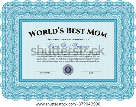 Award: Best Mom in the world. With great quality guilloche pattern. Sophisticated design.