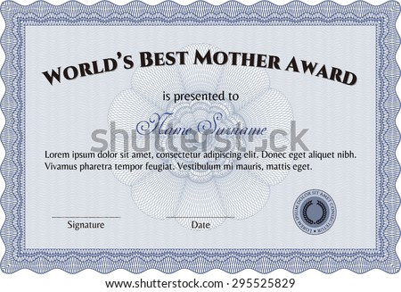Award: Best Mom in the world. With guilloche pattern. Detailed.Lovely design.