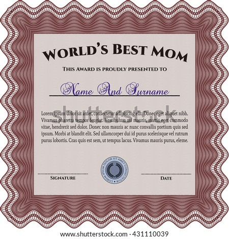 Award: Best Mother in the world. Sophisticated design. With great quality guilloche pattern.