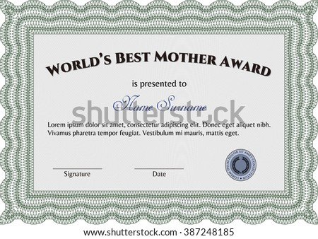Award: Best Mother in the world. With great quality guilloche pattern. Sophisticated design.