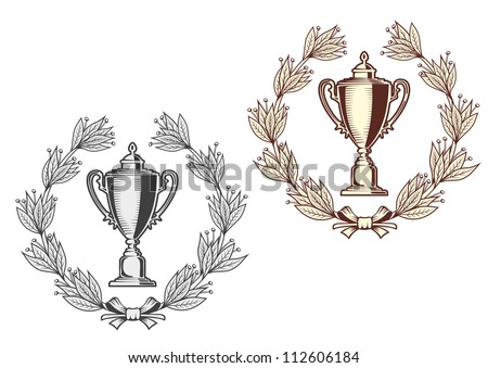Award bowl with laurel wreath for sports or another achievement design concept, such a logo. Jpeg version also available in gallery