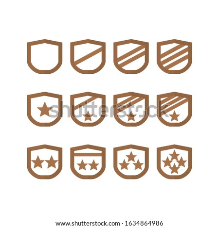 Award bronze badge insignia icons military rank, level, trophy, play, game, appreciation, gift and give