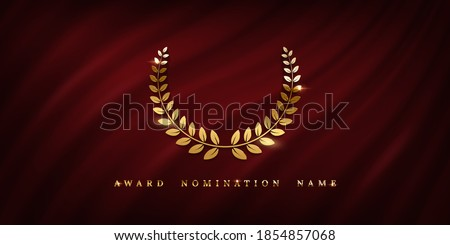 Award ceremonyposter template. Golden laurel wreath isolated on red wavy curtain background. Vector awarding banner design ストックフォト ©