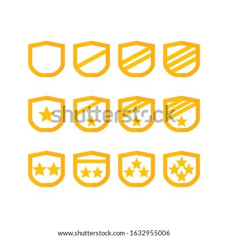 Award gold badge insignia icons military rank