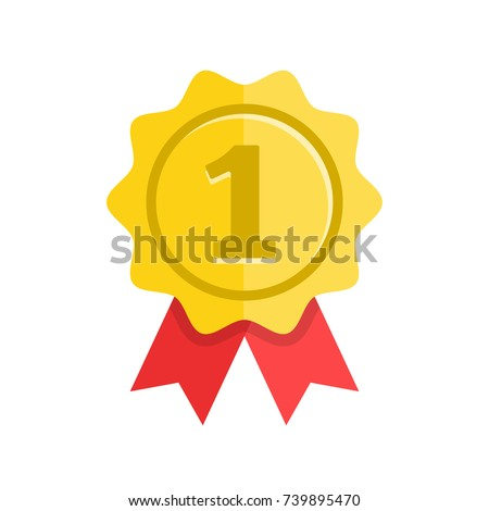 Award. Gold medal with red ribbons. First place, winner, prize, achievement, accomplishment concepts. Modern flat design vector icon