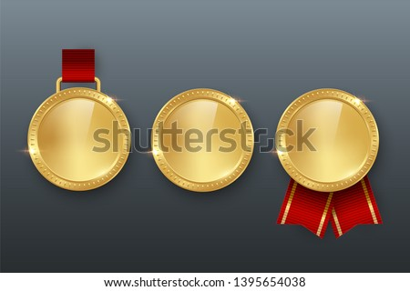 Award golden blank medals with different ribbon 3d realistic illustration. First place medals with and without red ribbons. Quality blank, empty badge, emblems.