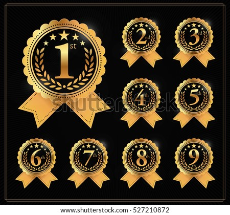 Award golden label of First, second and third winner. 1st, 2nd, 3rd, 4th, 5th, 6th, 7th, 8th and 9th Vector set