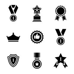 Award icon set.Trophy icon collection