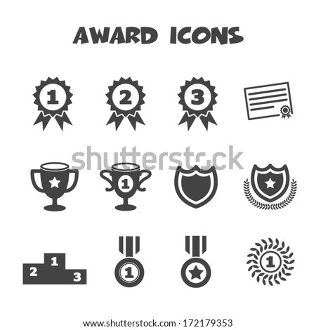 award icons  mono vector symbols