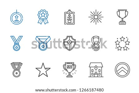 award icons set. Collection of award with shield, school, trophy, star, medal, best, pet, badges, best seller. Editable and scalable award icons.