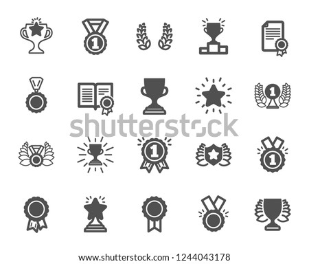 Award icons. Set of Winner medal, Victory cup and Laurel wreath award icons. Reward, Certificate and Diploma message. Glory shield, Prize winner, rank star, diploma certificate. Quality design element