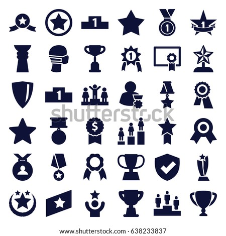 Award icons set. set of 36 award filled icons such as star, ranking, medal, medical mask, ribbon, trophy, 1st place star, diploma, rank, man with medal, celebrity