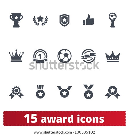 Award icons: vector set of prizes and trophy signs