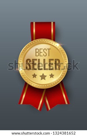 Award medal 3d realistic vector color illustration. Reward. Best seller golden medal with stars. Certified product. Quality badge, emblem with red ribbon. Winner trophy. Isolated design element