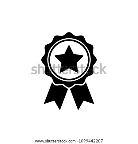 Award medal icon in flat style. Rosette symbol isolated on white background Simple first place award with star sign. Abstract icon in black Vector illustration for graphic design, Web, UI, mobile upp Stockfoto ©