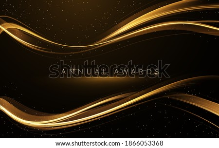 Award nomination ceremony luxury background with golden glitter sparkles
