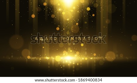 Award nomination ceremony luxury background with golden glitter sparkles and bokeh. Vector presentation shiny poster. Film or music festival poster design template.