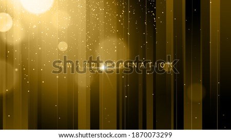 Award nomination ceremony luxury background with golden glitter sparkles, lines and bokeh. Vector presentation shiny poster. Film or music festival poster design template.