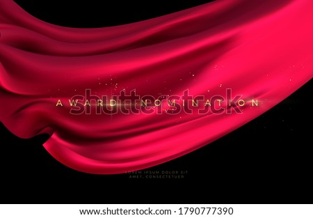 Award nomination ceremony with luxurious red flying silk wavy background with gold glitter and sparkle. Vector illustration EPS10
