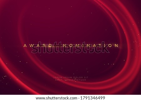 Award nomination ceremony with luxurious red wavy background with gold glitter and sparkle. Vector illustration EPS10